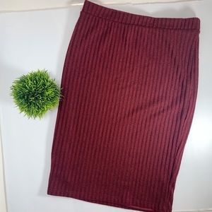 Charlotte Russe Wine Rib-Knit Pencil Skirt